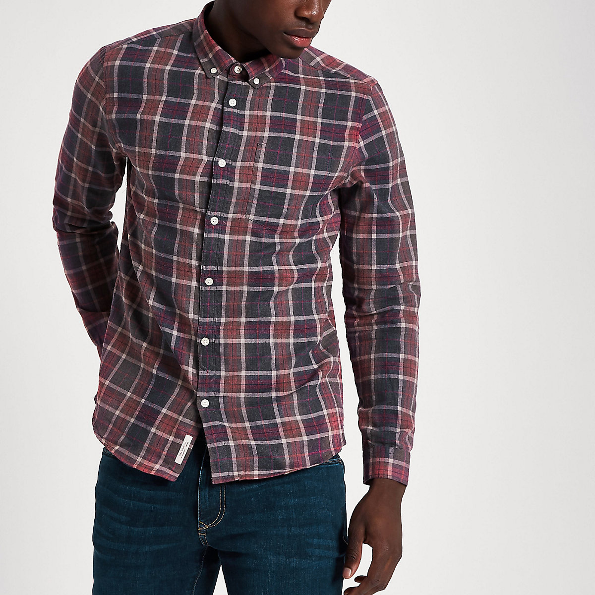 Red check long sleeve button-down shirt