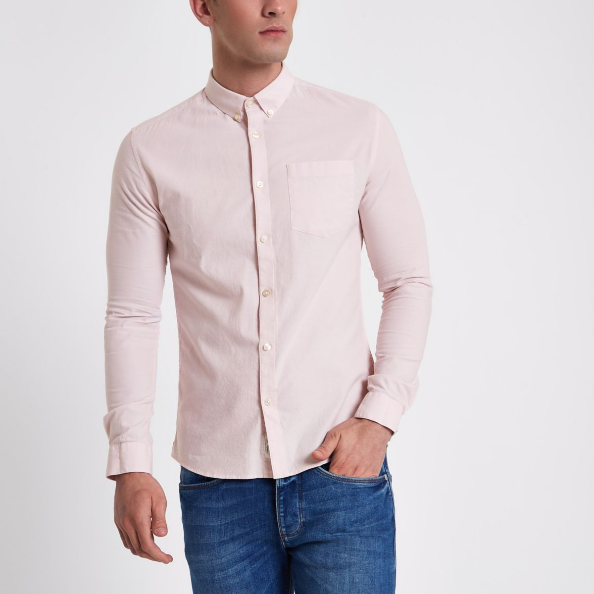 Pink long sleeve muscle fit Oxford shirt