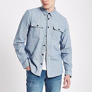 Veste-chemise rayée bleue à manches longues