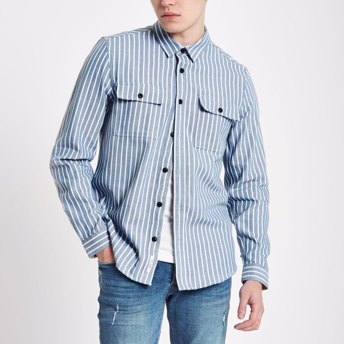 Blue stripe long sleeve shacket