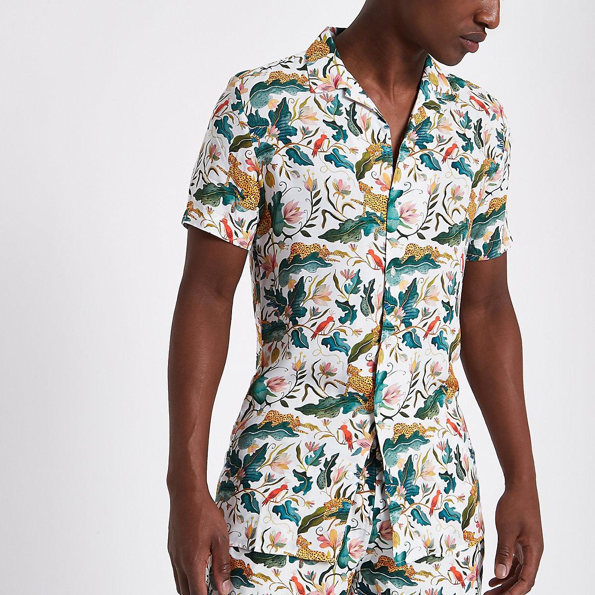 Green jungle print short sleeve revere shirt