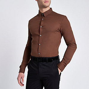 Brown long sleeve muscle fit shirt