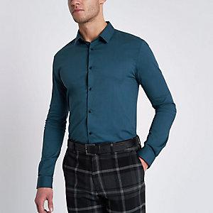 Blauwgroen aansluitend overhemd met lange mouwen