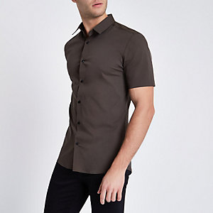Khaki green short sleeve muscle fit shirt