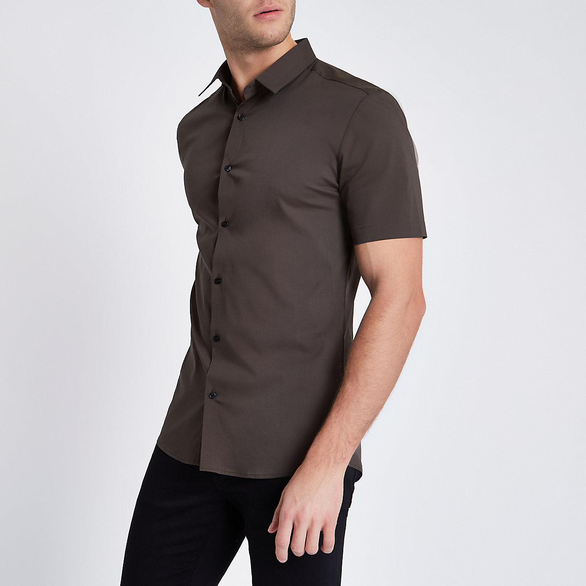 Khaki green short sleeve muscle fit shirt