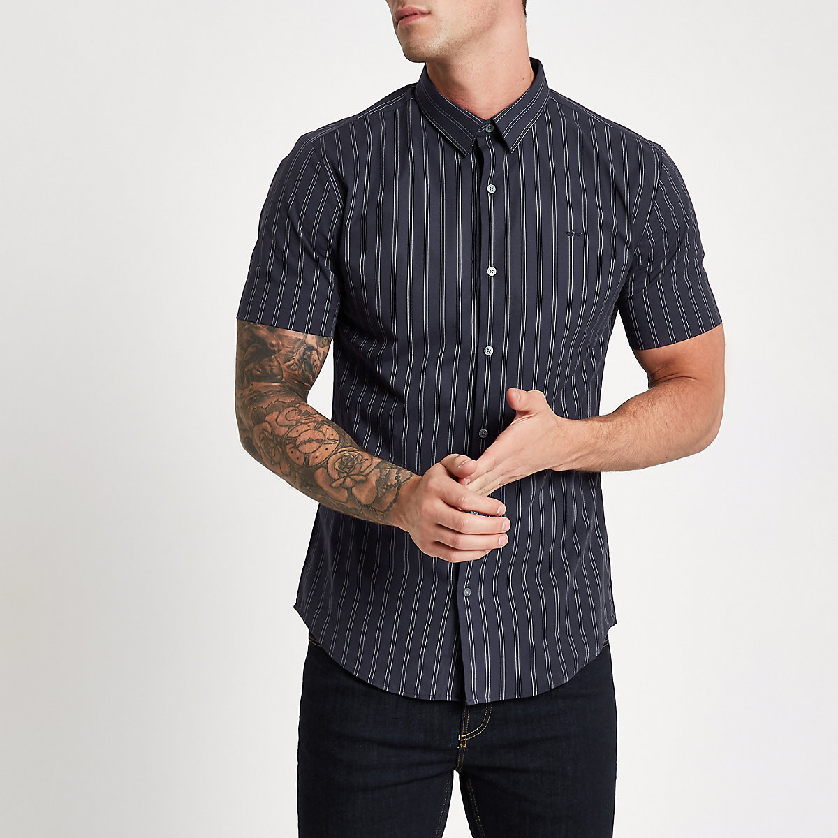 Navy pinstripe muscle fit short sleeve shirt