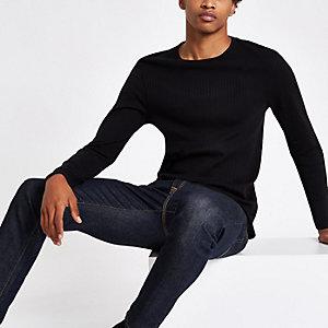 Zwart geribbeld slim-fit T-shirt met lange mouwen
