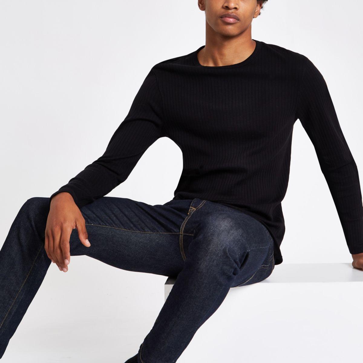 Schwarzes, langärmliges Slim Fit T-Shirt