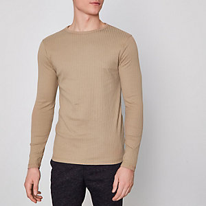 Camel ribbed slim fit long sleeve T-shirt