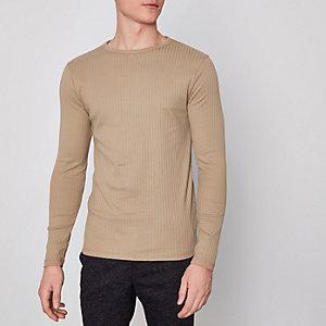 Camelkleurig geribbeld slim-fit T-shirt met lange mouwen