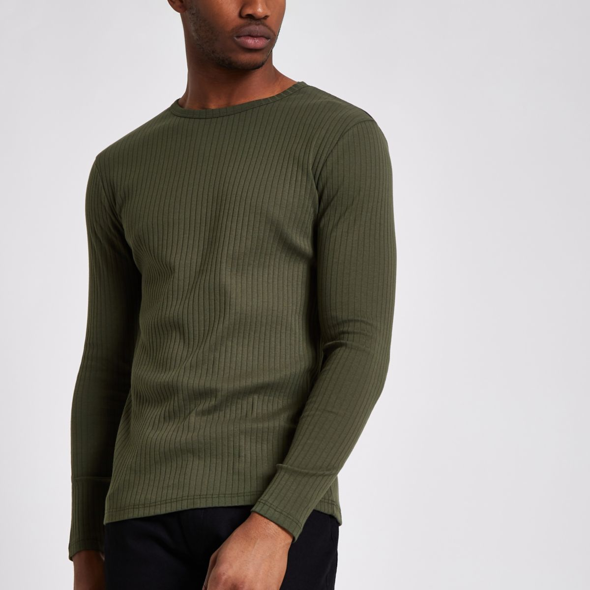Khaki green rib slim fit long sleeve T-shirt