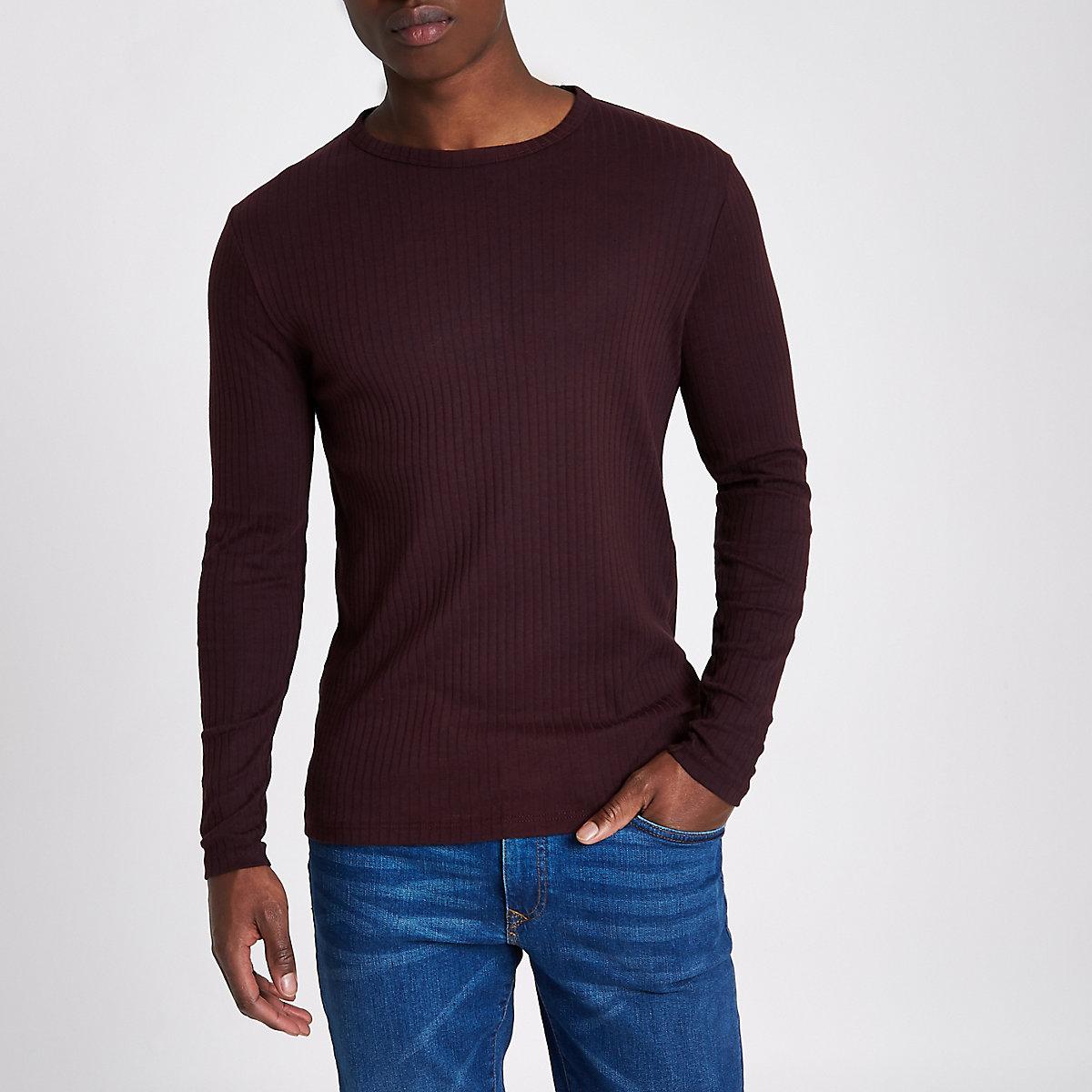 Dark red ribbed slim fit long sleeve T-shirt