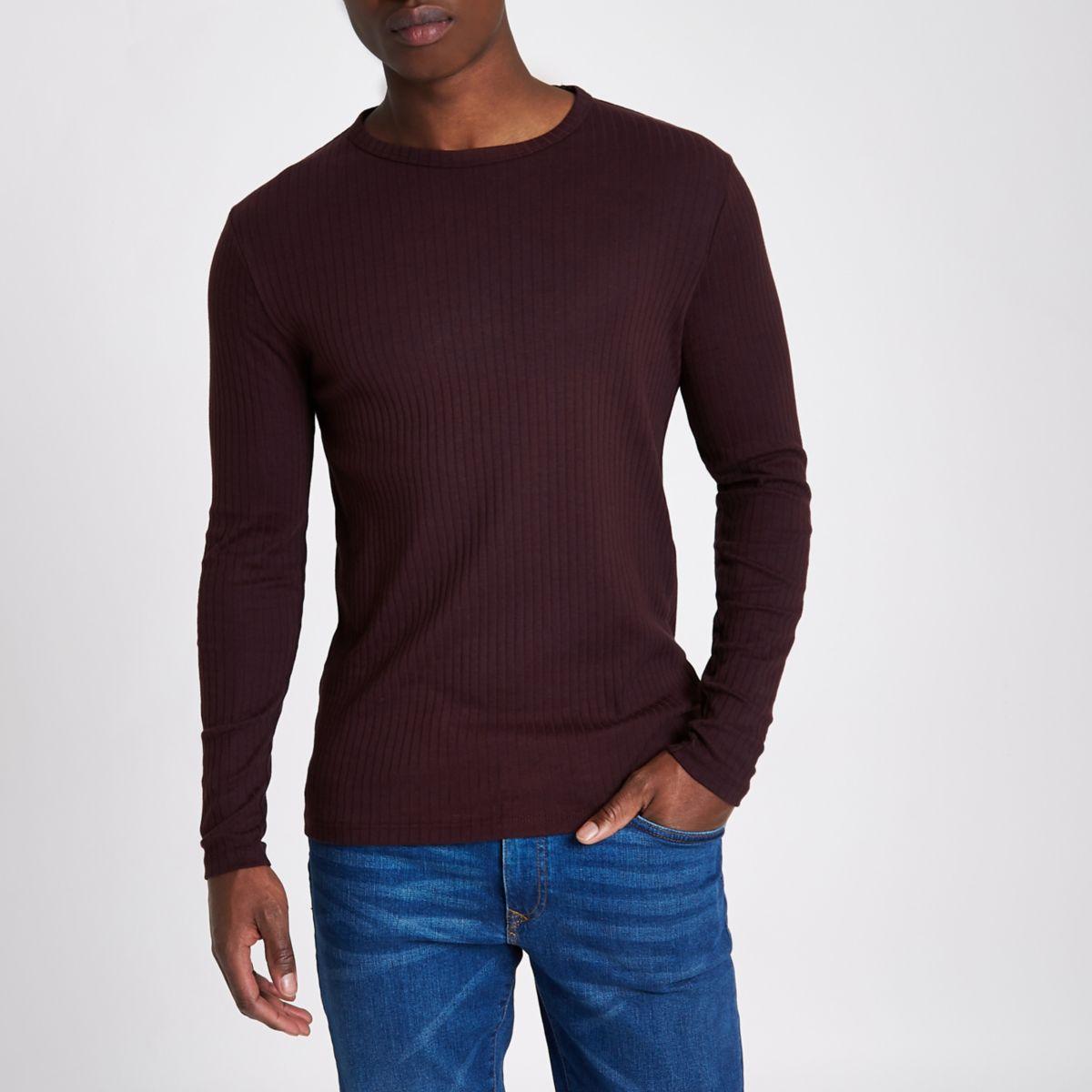 Dark red ribbed slim fit long sleeve t shirt long sleeve for Ribbed long sleeve shirt