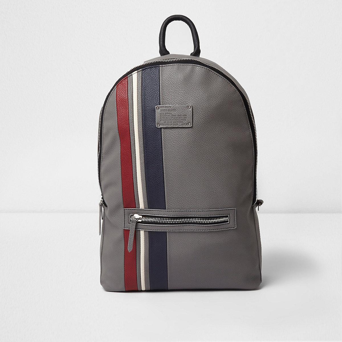 b45ce87cbd10 Grey faux leather sporty stripe backpack Grey faux leather sporty stripe  backpack ...