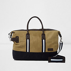 Khaki canvas holdall bag