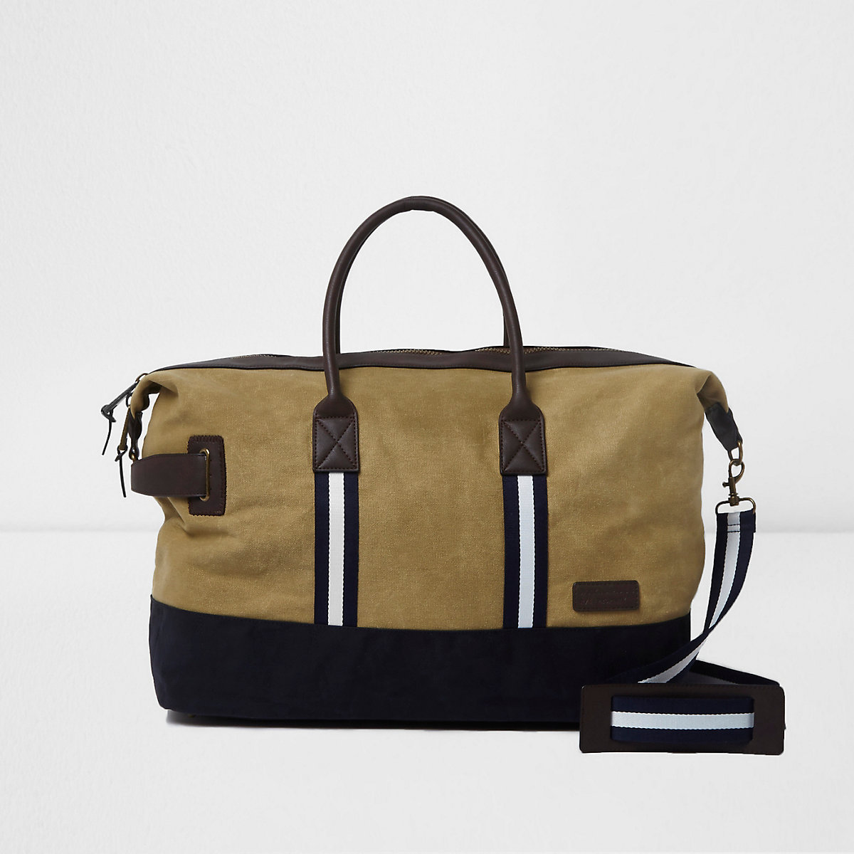 Khaki canvas holdall bag