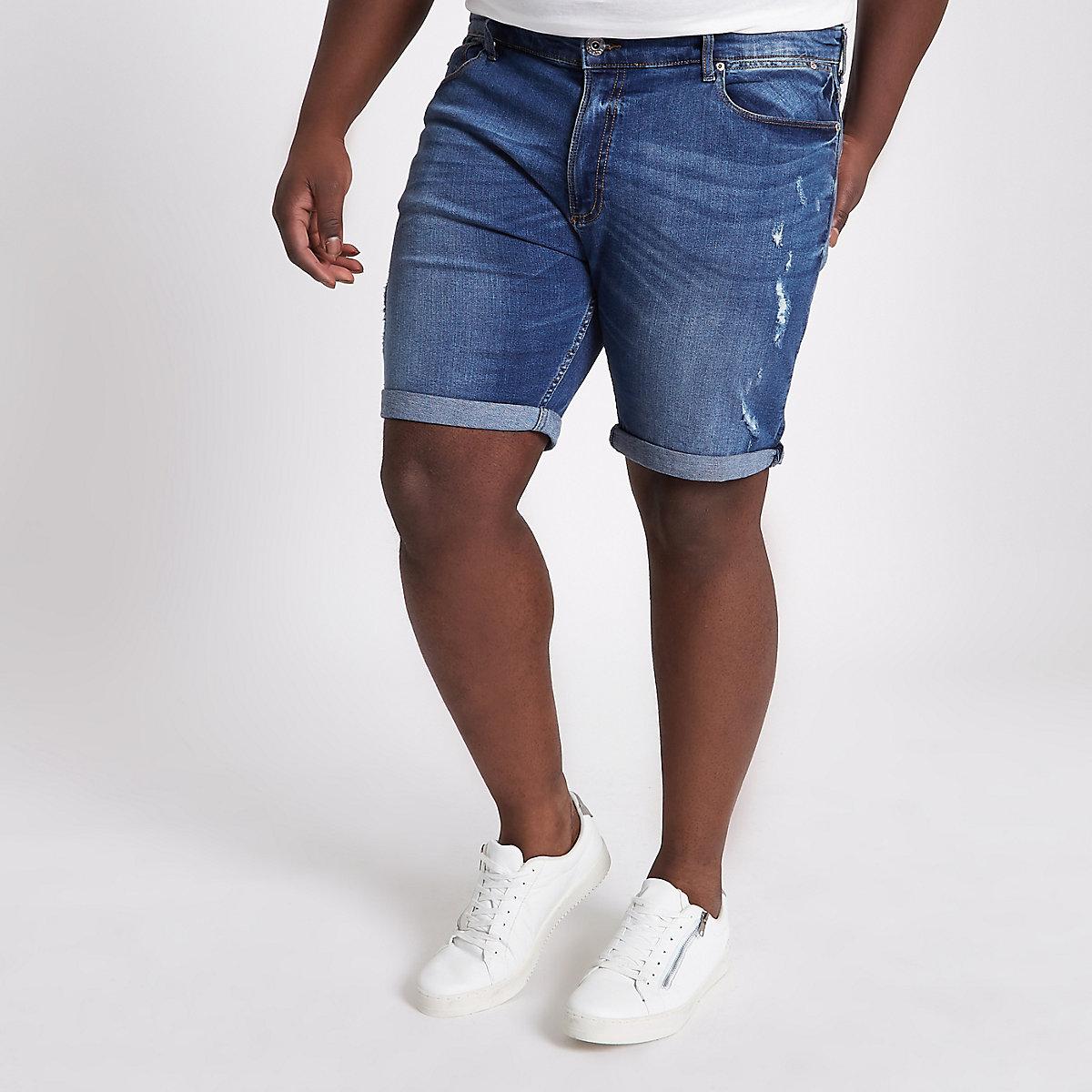 Big and Tall blue rip slim fit denim shorts