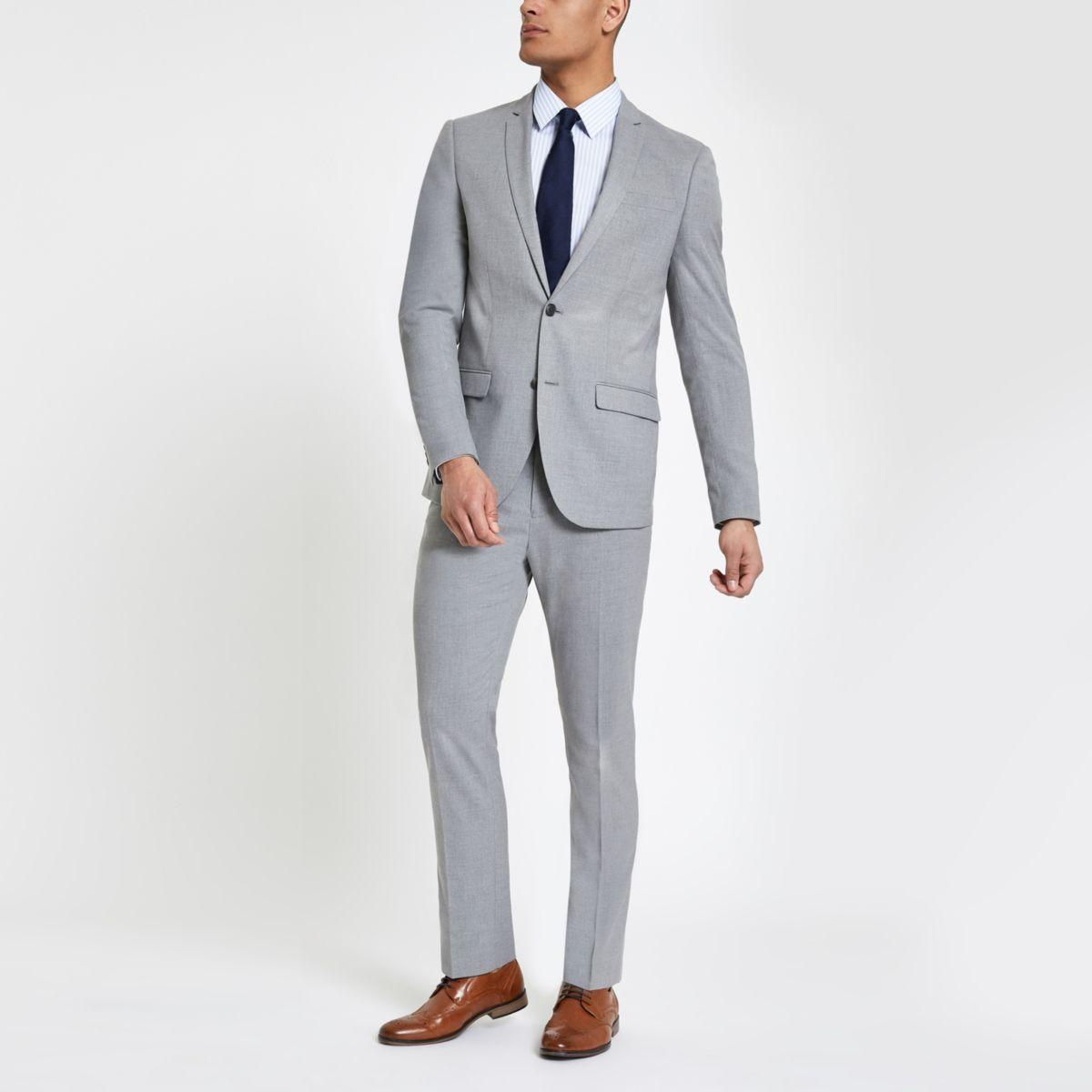 Light grey slim fit suit trousers