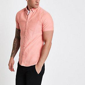 Chemise Oxford corail à boutons et manches courtes