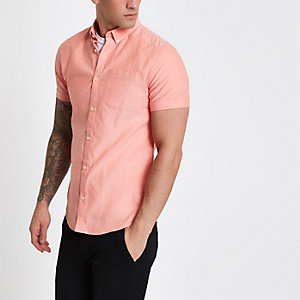 Koraalrood button-down Oxford overhemd met korte mouwen