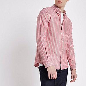 Rotes, gestreiftes Oxford-Hemd mit langen Ärmeln