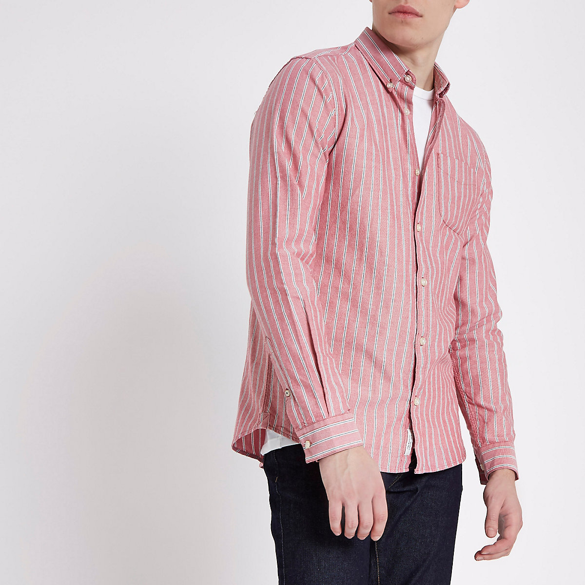 Red stripe long sleeve Oxford shirt