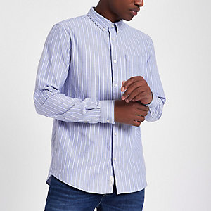 Blauw gestreept Oxford overhemd met lange mouwen
