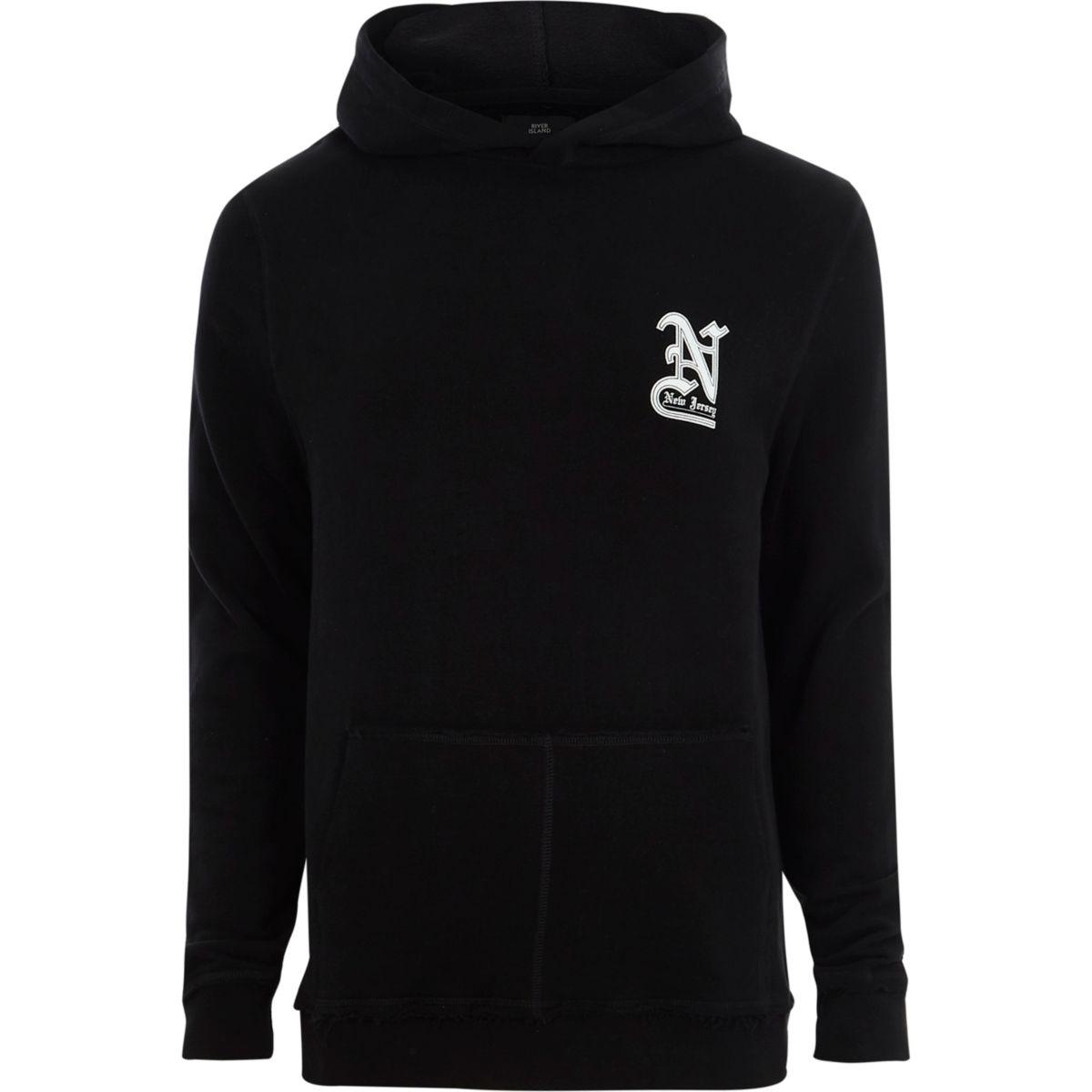 Zwarte hoodie met 'New Jersey'-print