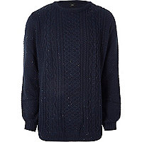 Big and Tall navy cable knit jumper
