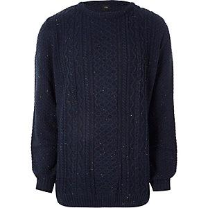 Big & Tall – Marineblauer Pullover mit Zopfmuster