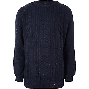 Big and Tall – Pull en maille torsadée bleu marine