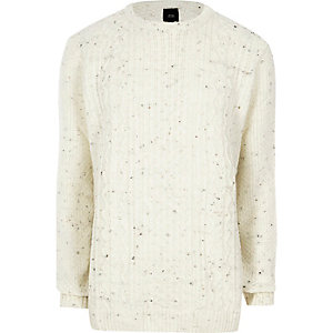Big and Tall cream cable knit jumper