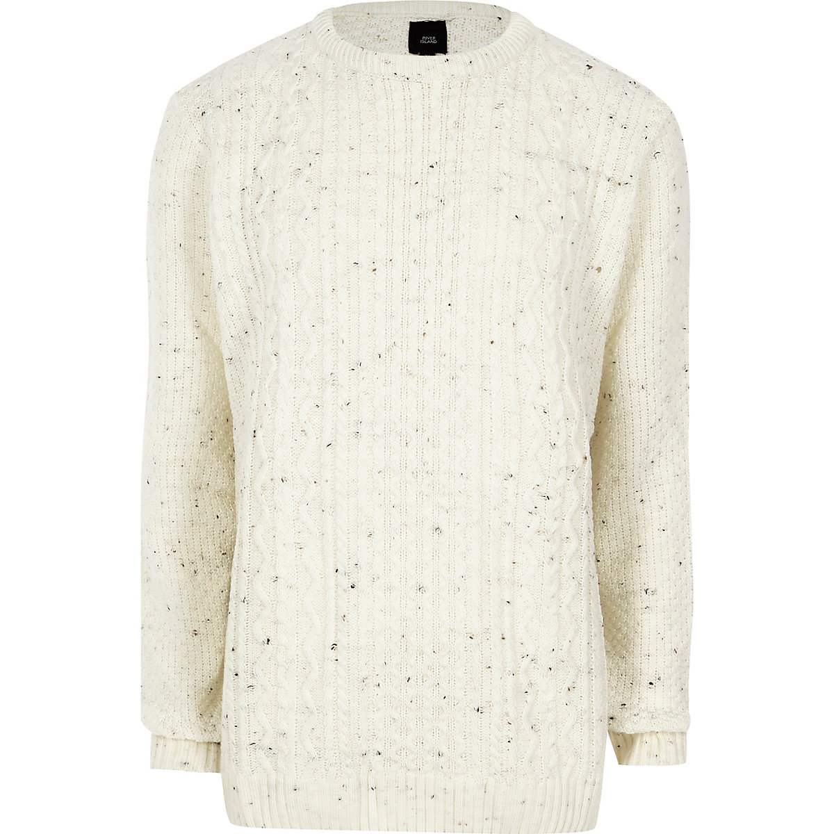 Big and Tall cream cable knit sweater