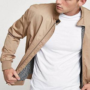 Steingraue Harrington-Jacke mit Stehkragen