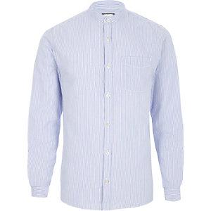Blaues Oxford-Hemd mit Grandad-Kragen und Streifen