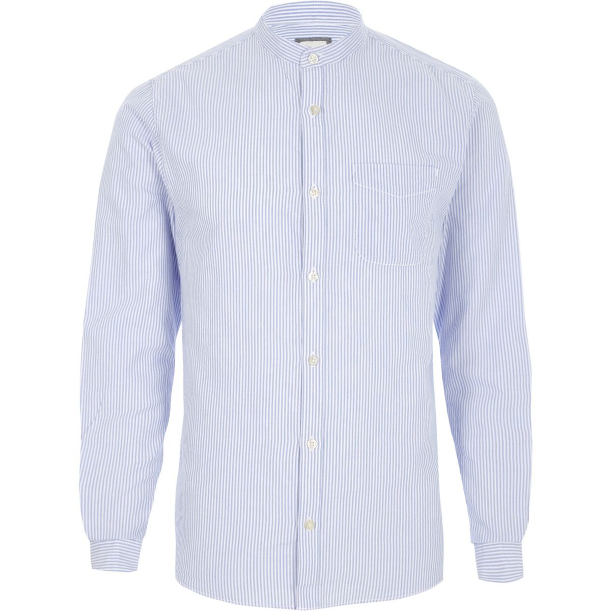 Blue stripe grandad Oxford shirt