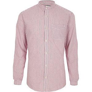 Chemise Oxford à rayures violettes style grand-père