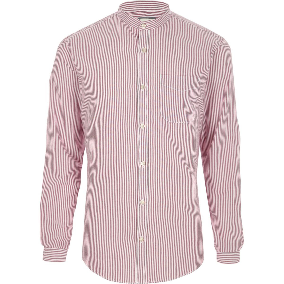 Purple stripe grandad Oxford shirt