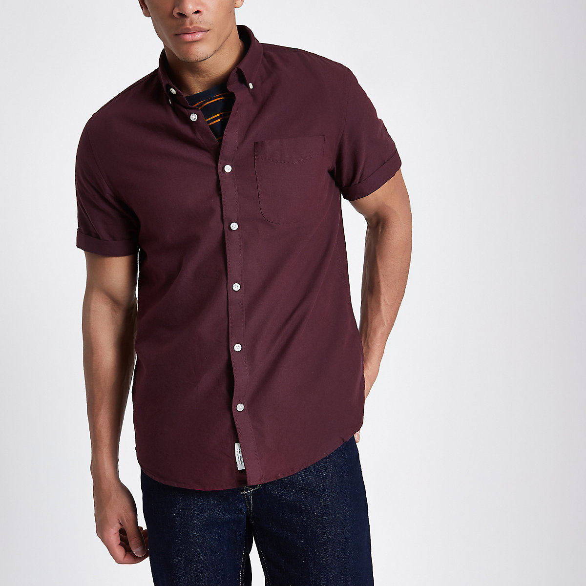Dark red casual short sleeve Oxford shirt