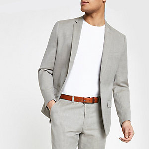 Light grey slim fit suit jacket