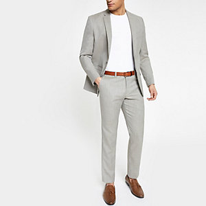 Pantalon de costume gris clair coupe slim