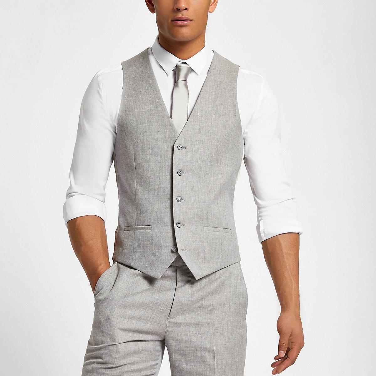 Light grey suit waistcoat
