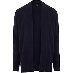 Navy open front rib knit cardigan