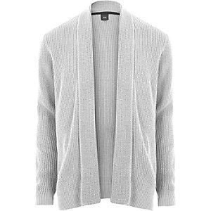 Light grey open front rib knit cardigan