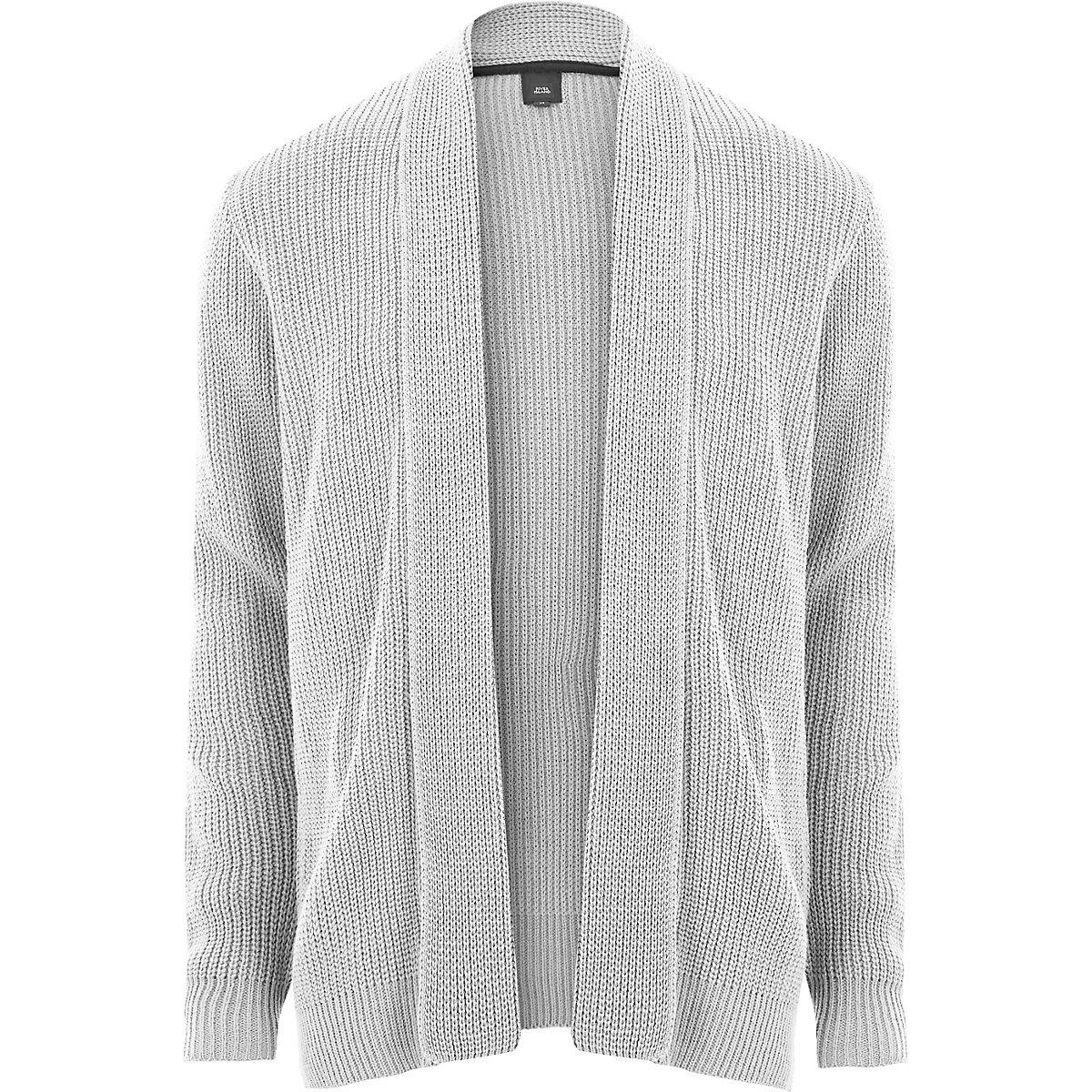 Light grey open front rib knit cardigan