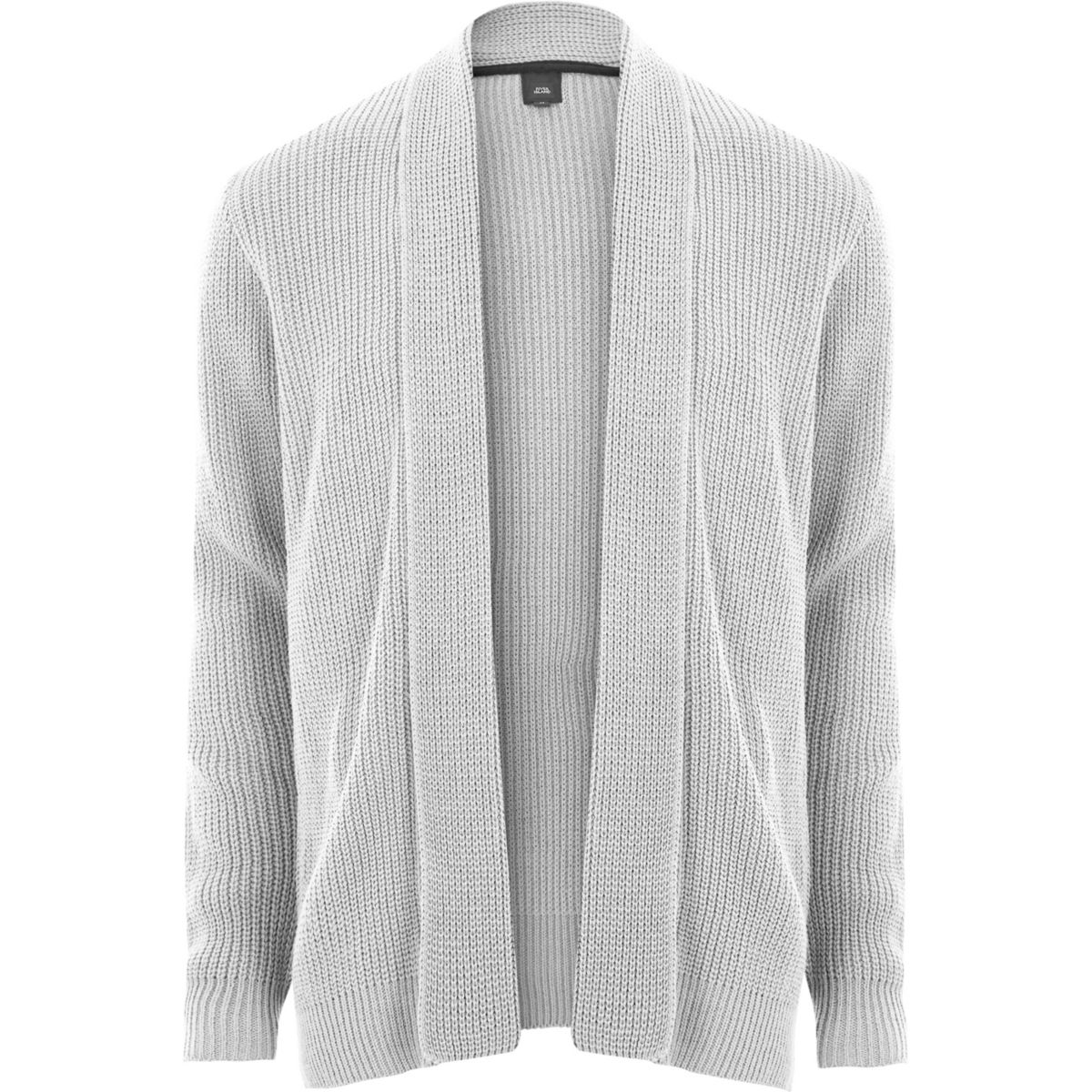 Light grey open front rib knit cardigan - Cardigans - Sweaters ...