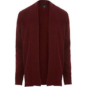 Cardigan en maille côtelée rouge foncé ouvert sur le devant