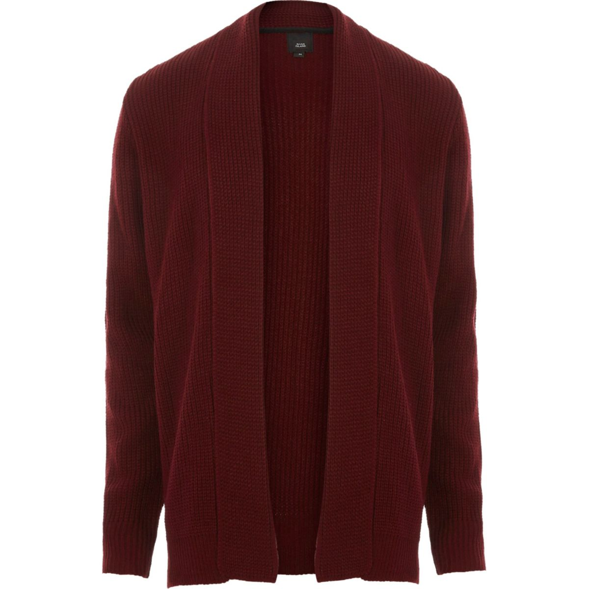 Dark red open front rib knit cardigan