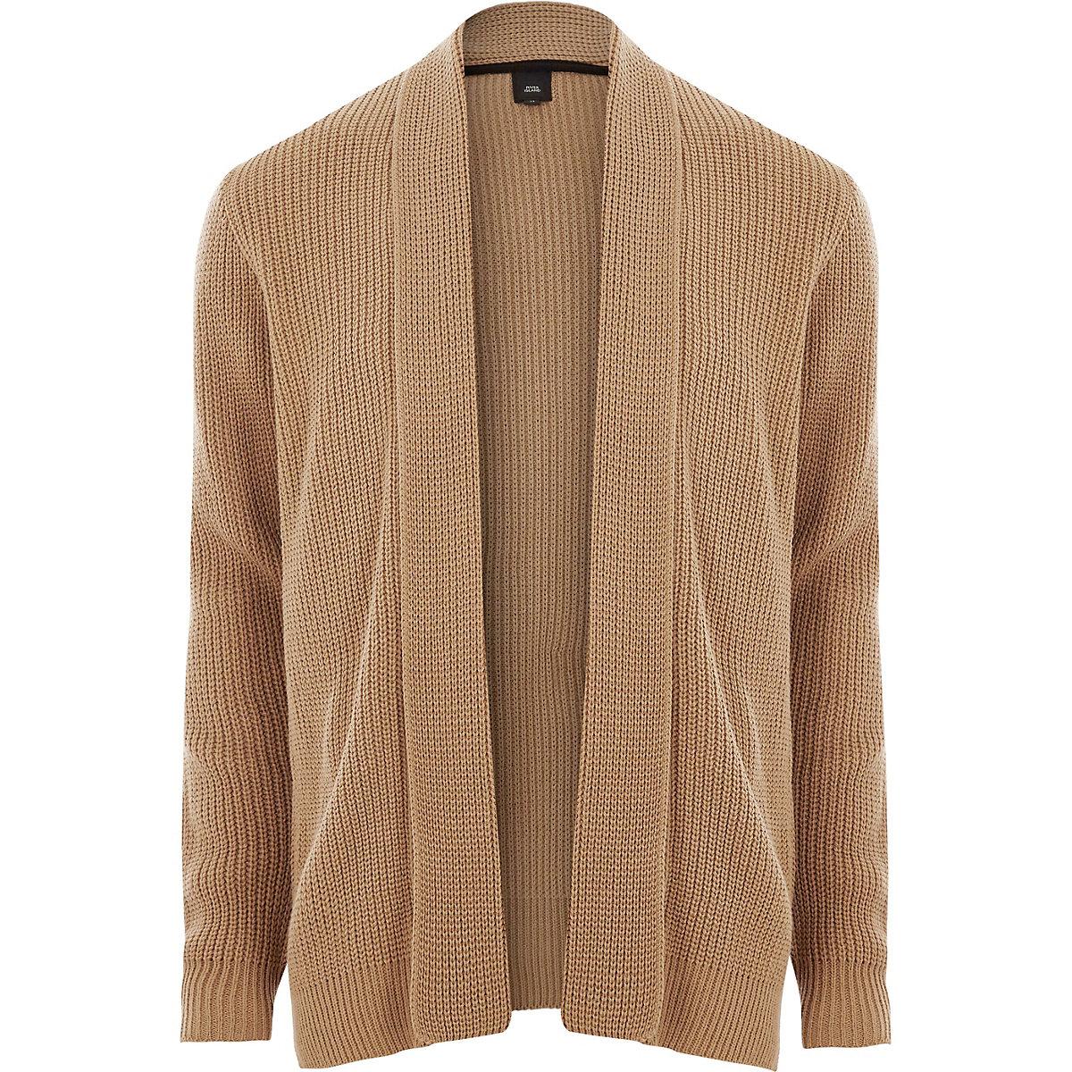 Light brown open front rib knit cardigan