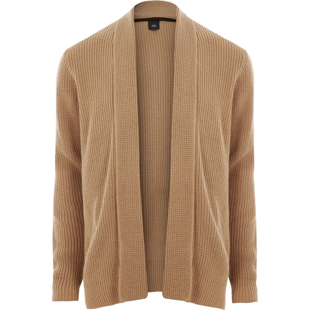 Light brown open front rib knit cardigan - Cardigans - Sweaters ...